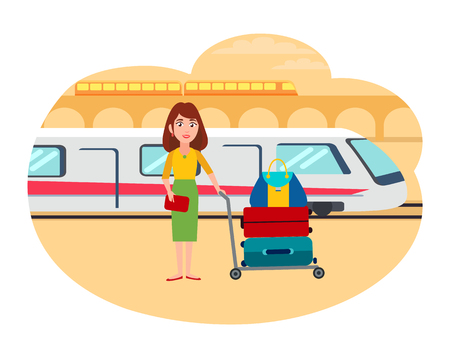 Woman with lot of baggage at railway station. Female refugee search for new home abroad. Girl stand near train isolated cartoon vector illustration.
