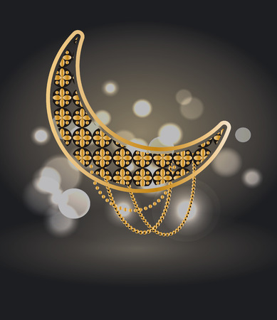 Ramadan Kareem Poster with Crescent Isolated on Black Illustration