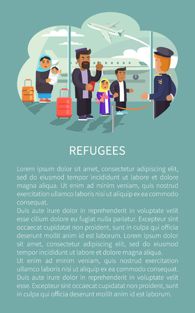 Refugees at Airport Poster Vector Illustration Çizim