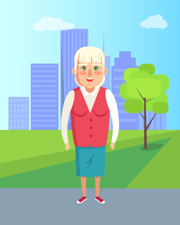 Grandmother walking in city park vector granny outdoors at sunny summer day vector illustration woman on retirement on backdrop of trees and buildings