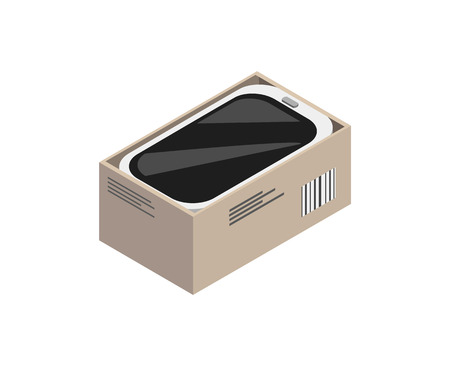 Packed into carton box device isolated on white vector illustration of round gadget, mobile phone cartoon image, electronic cellphone with bright case Vektoros illusztráció