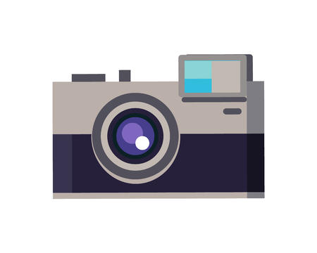 Camera device photography with lens, splash and zoom, allowing capture precious moments of life while travelling, isolated on vector illustration
