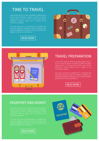 Time to travel web pages set headlines and text sample, opened luggage, money banknotes in wallet, credit cards, decorated baggage vector illustration Çizim