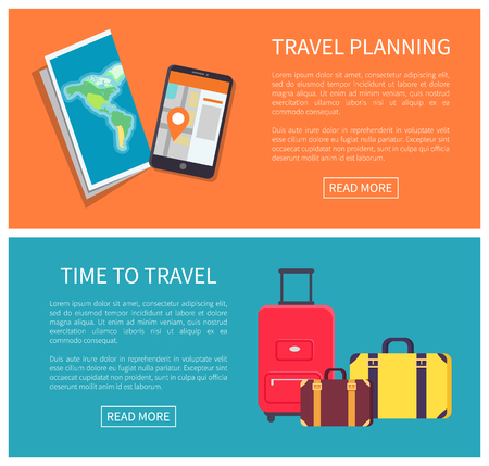 Travel planning web pages set with paper map, mobile phone showing automatic location application, luggages collection text sample vector illustration