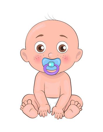 Pasgeboren jongen peuter met fopspeen in mond en gekleed in luiers vectorillustratie van vet baby man geïsoleerd op een witte achtergrond, kleine baby Vector Illustratie