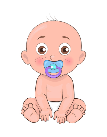 Newborn boy toddler with pacifier in mouth and dressed in diapers vector illustration of bold infant male isolated on white background, little baby