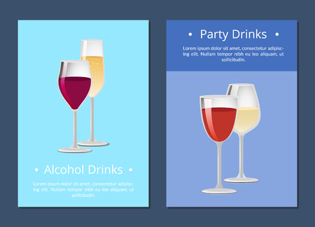 Alcohol drinks party cocktails posters with classic glass of wine and champagne in elegant glassware vector banners set with winery products isolated 向量圖像