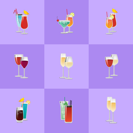 Pair of cocktails in squares vector set, elite classical and exotic drinks decorated by citrus fruits, umbrella and straw, wine and champagne isolated
