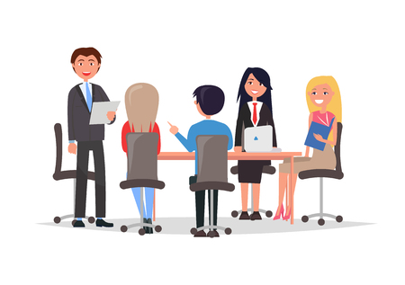 Managers exchange information and discuss financial issues, confident people on business meeting sit at table, vector isolated on white, men and women