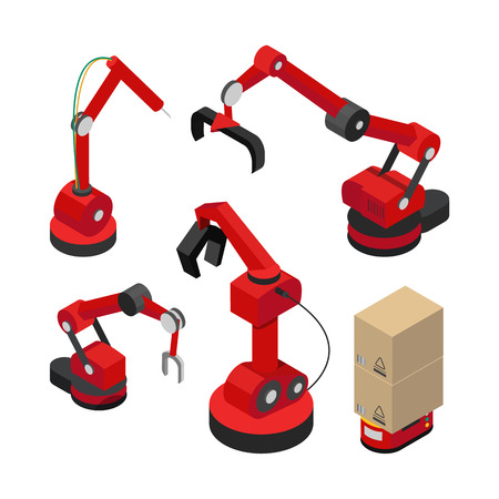 Robots set with hydraulic mechanisms vector banner, illustration of contemporary devices for packing transporting and making products in modern plants Standard-Bild - 112042430