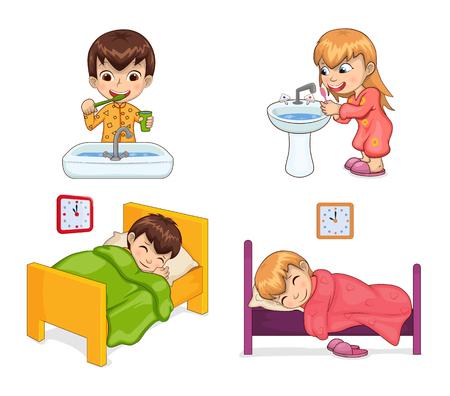 Conjunto de estilo de vida de niño y niña, actividades diarias en cada mañana, durmiendo en la cama, cepillándose los dientes con la ayuda de la ilustración de vector de colección de cepillo de dientes