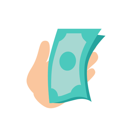 Hand holding money banknotes dollars, person having currency and ready to use in personal purposes, vector illustration isolated on white background Illustration