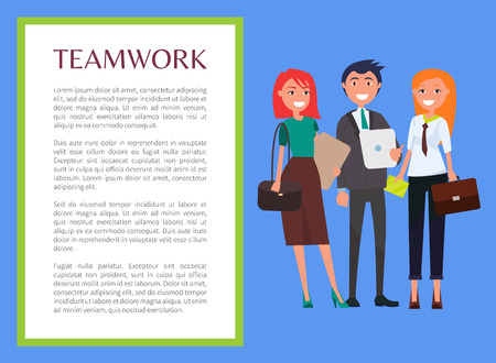 Teamwork promo banner with modern young business people. Stylish women carry handbags, man in suit that holds tablet cartoon flat vector illustration.