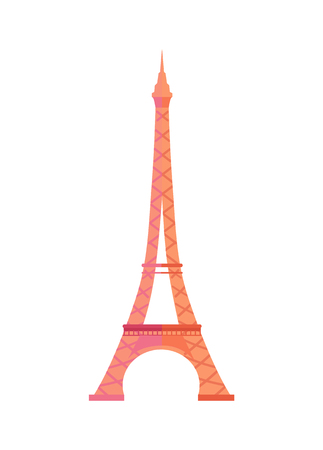 Gorgeous Eiffel Tower from Paris made of metal. Famous European architectural attraction. French popular sight and TV transmitter vector illustration.