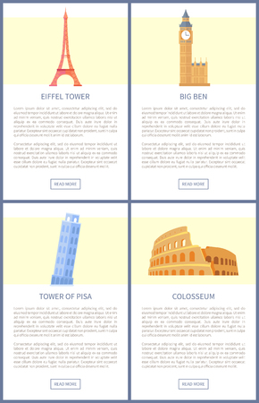 Popular European architectural attractions set. Famous Eiffel and Pisa Towers, tall Big Ben, ancient Colosseum on promo banners vector illustrations.