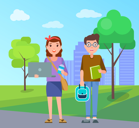 Male and female students with handbags, modern rucksacks, notebook devices and textbook on background of green trees and skyscraper buildings vector