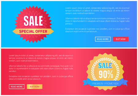 Special offer premium promotion sale round labels stamps with info about total discounts set of web pages with push buttons, vector illustration stickers