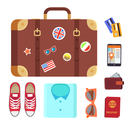 Luggage decorated with stickers of usa, egypts pyramids, clothing and shoes, international passport, wallet full of money cash set vector illustration