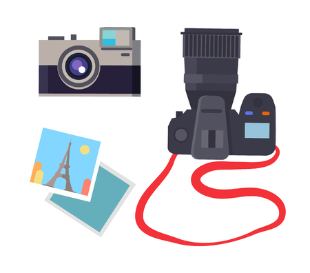 Photo and camera of different types, devices making photography, French Eiffel Tower in Paris captured, collection isolated on vector illustration