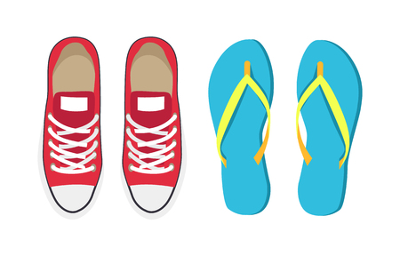 Turnschuhe und blaue Flip-Flops, ein Paar Trainingsschuhe, die angenehm zu tragen sind, lange Strecken gehen, Sammlungsvektorillustration einzeln auf Weiß