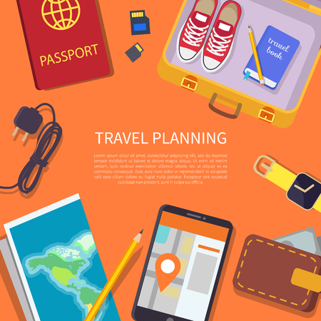 Travel planning headline and text sample in centerpiece set, passport with wallet, paper map of world, luggage shoes collection vector illustration