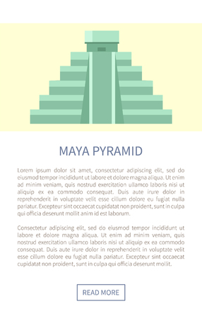 Maya Pyramid Web Page Text Vector Illustration Çizim