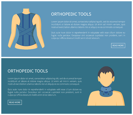 Orthopedic tools fixing corsets collection banner colorful vector illustration of human s body in special medical retainers on back and male neck Illustration