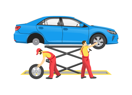 Car repair process vector illustration with vehicle on lift, mechanics in special equipment replacing wheels for auto inspection, abstract workshop