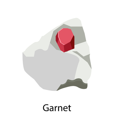 Garnet silicate mineral in reddish hidden in stone vector illustration isolated on white background. Precious gem rock red color, form of crystal