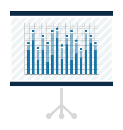 Statistical chart on projector screen. Graphic on slide as part of presentation. Visualization of numeric data in graphical form vector illustration. Illustration