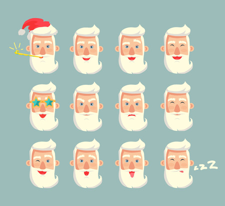 Grandfather emoticons set, head of grandpa wearing red Santa Claus hat, bearded old man sleeping and snoring, emoji collection vector illustration