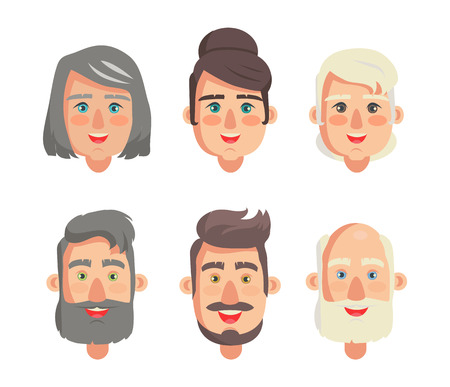 Grandparents faces collection, heads types of women and men bearded grandfathers smiling grandmothers vector illustration isolated on white background Illustration