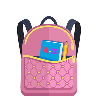Pink rucksack with big pocket on back with ABC book inside, pencil vector illustration isolated on white background. Rucksack in back to school concept Ilustração