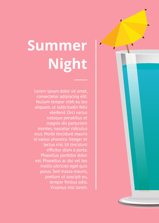 Summer Night Cocktail Party Promo Poster with Drink Иллюстрация