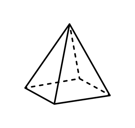 Square Pyramid Projection Straight and Dashed Line