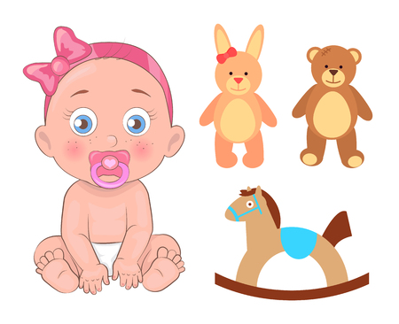 Baby girl that has pink ribbon on head tied in bow with pacifier and toys. Little kid, soft bunny, friendly bead, horse swing vector illustrations.