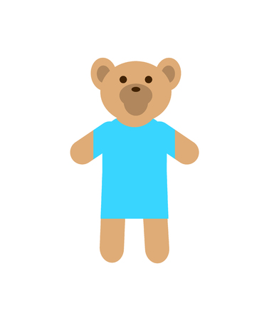 Teddy bear, wearing warm knitted sweater, of blue color, favourite fluffy toy of kids and babies, vector illustration isolated on white background