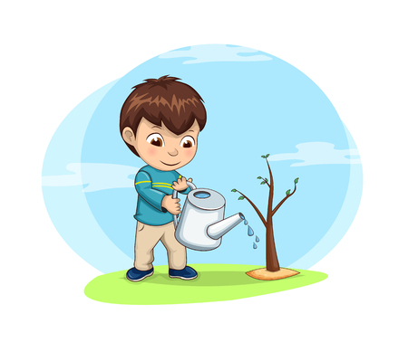 Cute little boy waters young tree sprout. Kid takes care of nature and environment. Child with watering can on fresh air isolated vector illustration.