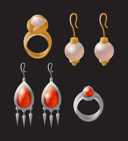 Earring and ring, elegant and wealthy collection designed for rich women, accessories on special occasions, set vector illustration isolated on black Иллюстрация