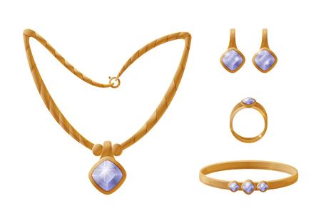 Łańcuszek ze złota i zestaw pierścionków, kolczyki i bransoletka z akcesoriami z kamieni szlachetnych w tym samym stylu, podobne elementy ilustracji wektorowych na białym tle