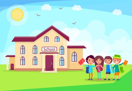 Happy Children Holding Hands in Front of School Ilustração