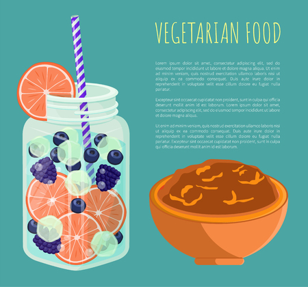 Vegetarian food poster with refreshing summertime detox diet juice with pieces of grapefruit, blueberry and bilberry, and bowl of porridge, add text