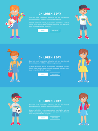 Children s day vector web banner in graphic design of kids celebrating holiday and holding toys and text information between them.