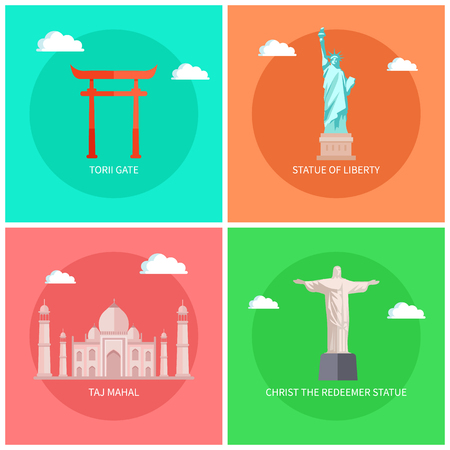 Famous Monuments and Buildings Bright Posters Set Illustration