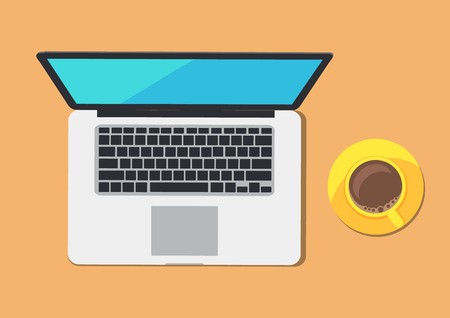 Modern Computer and Coffee Cup on Abstract Table Ilustração