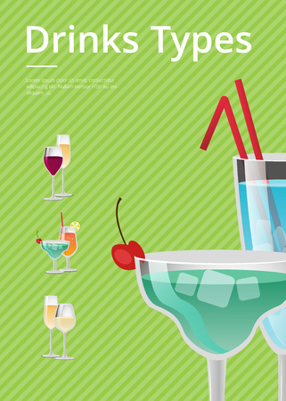 Drinks type advert poster with blue cocktails in martini glass, with straw decorated by cherry on top vector isolated on green and list of beverages