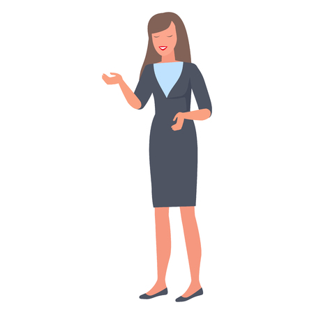 Isolated female in suit uses non verbal body language signs during discussion. Smiling woman gestures by hands during talk vector illustration Illustration