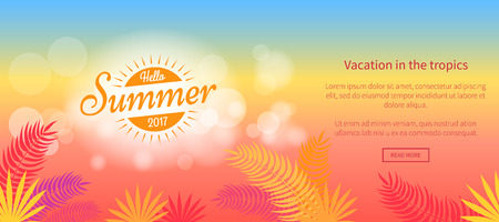 Hello summer 2017 vacation in tropics vector web banner with abstract sunset and tropical leaves illustration on colorful background