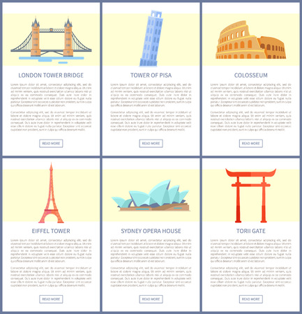 World Popular Attractions Promotional Posters Set
