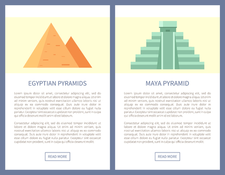 Egypt and Maya Pyramids on Promo Travel Banners Foto de archivo - 106315900